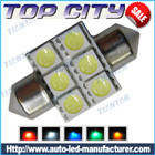Topcity 6-SMD 5050 36MM-42mm Festoon 211 LED bulbs      6441, 6418, C5W,Car Interior Lights, Dome Lights, Festoon Light - Festoon LED