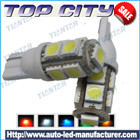 Topcity 360-Degree Shine 9-SMD 5050 T10 W5W Wedge Light LED Bulbs 158 168 175 194 2825 2827 - T10, 168, 194 LED