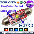 Topcity Newest Euro Error Free Canbus Festoon 1 HIGH Power cree R3 Canbus 36mm,39mm,41mm Cold white - Canbus LED