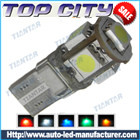 Topcity Euro Error Free 5-SMD-5050 T10 2825 W5W LED      Bulbs - Canbus led