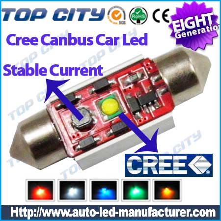 Euro Error Free 1 High  Power Cree led chip 36mm,39mm,41mm,6411      6418 C5W LED Bulbs w/ Built-in Load Resistors For European Cars  - Canbus LED