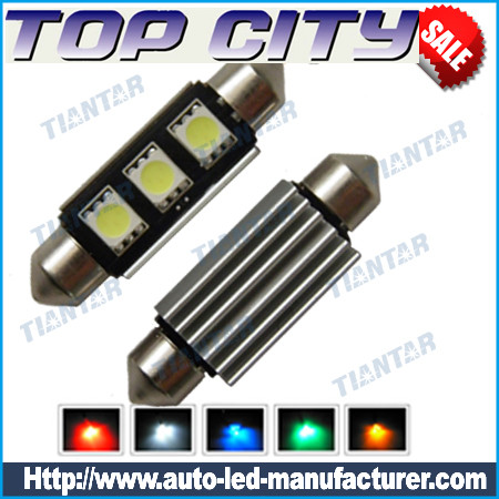 Topcity Euro Error Free 3-SMD-5050 1.50 36mm-42mm 6411 6418 C5W LED Bulbs w/ Built-in Load Resistors For European Cars - Canbus LED