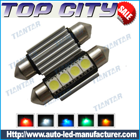 Topcity Euro Error Free 4-SMD-5050 1.50 36mm-42mm 6411 6418 C5W LED Bulbs w/ Built-in Load Resistors For European Cars - Canbus LED