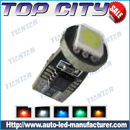 Topcity Euro Error Free 1-SMD-5050 T10 2825 W5W LED      Bulbs- Canbus led