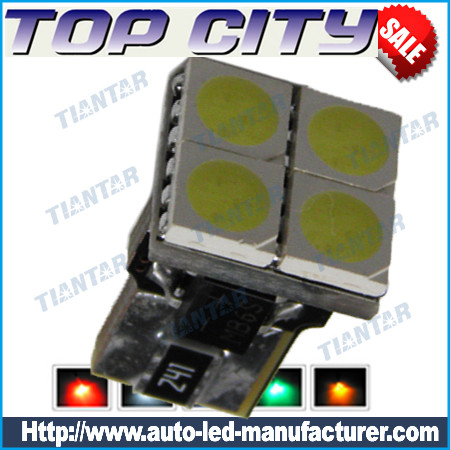 Newest Topcity Euro Error Free 4-SMD-5050 T10 2825 W5W LED      Bulbs - Canbus led